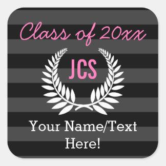 Custom Girls Graduation Party Black Pink Monogram Square Sticker