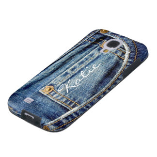 Custom girls name blue denim jeans samsung s4 case