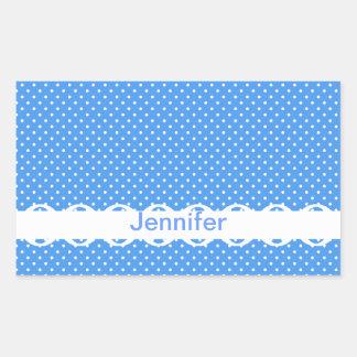 Custom girls name blue & white polka dots retro rectangular sticker