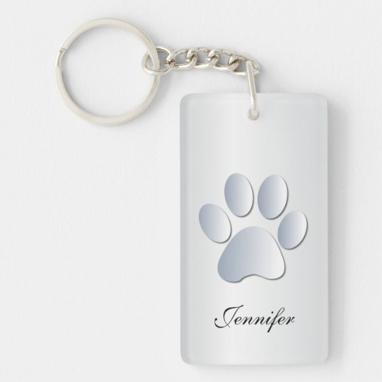 Custom girls name dog paw print in silver,