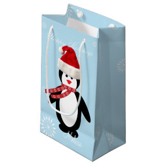 Custom girls name funny penguin santa cute holiday small gift bag