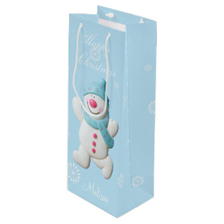 Custom girls name Happy Snowman cute christmas Wine Gift Bag