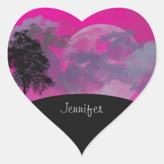 Custom girls name pink fantasy moon, clouds, tree heart sticker