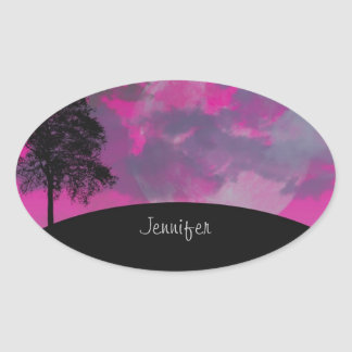 Custom girls name pink fantasy moon, clouds, tree oval sticker