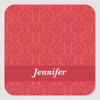 Custom girls name red luxury damask stickers