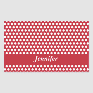 Custom girls name red & white polka dots stickers