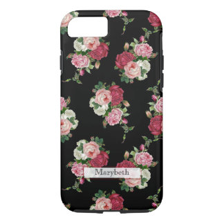 Custom Girly Cottage Floral-Black Background iPhone 7 Case
