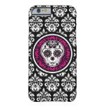 Custom girly Day of the Dead sugar skull on damask Barely There iPhone 6 Case