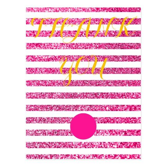 Custom Glitter Stripes Wedding Postcard