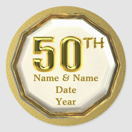 Custom Gold 50th Anniversary Or Birthday Stickers