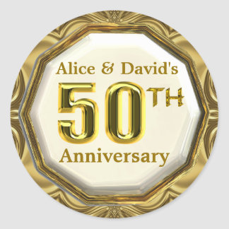 Custom Gold 50th Anniversary Sparkling Stickers