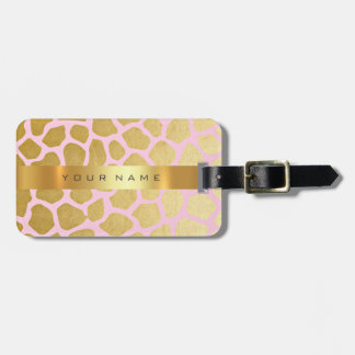 Custom Gold Africa Jaguar Safari Animal Skin Pink Luggage Tag