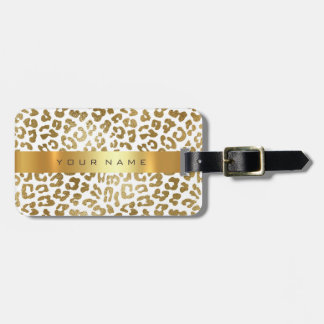 Custom Gold Africa Jaguar Safari Animal Skin White Luggage Tag