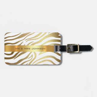 Custom Gold Africa Zebra Safari Animal Skin Shiny Luggage Tag