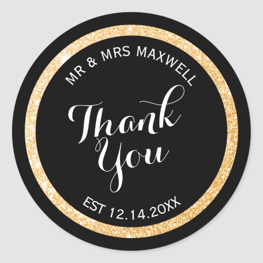 Custom Gold and Black Glitter Thank You Classic