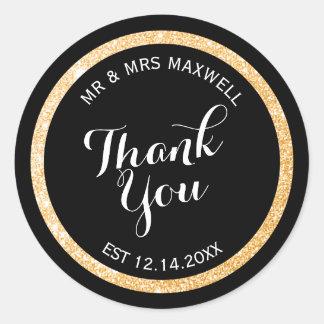 Custom Gold and Black Glitter Thank You Round Sticker
