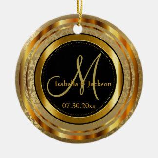 Custom Gold and Black Wedding or Anniversary Christmas Ornament