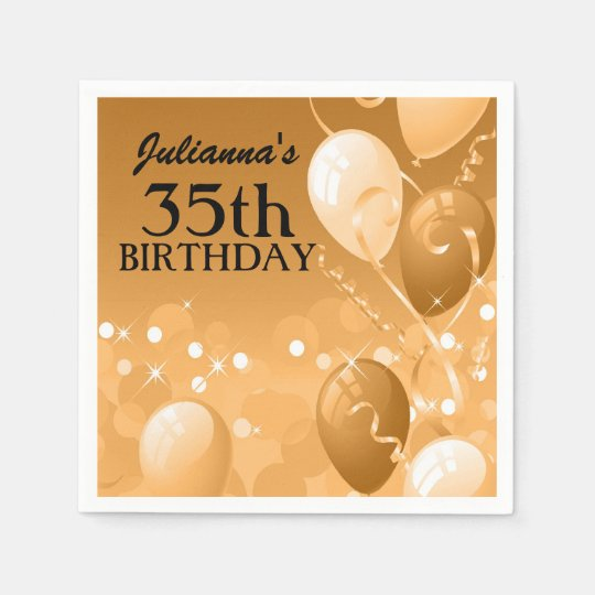 Custom Gold Balloons with White Birthday Disposable Serviette