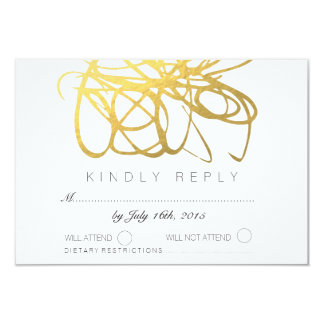 Custom Gold Foil Effect Wedding RSVP Reply Card 9 Cm X 13 Cm Invitation Card