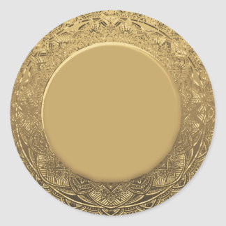 Custom Gold Foil Look Background Classic Round Sticker