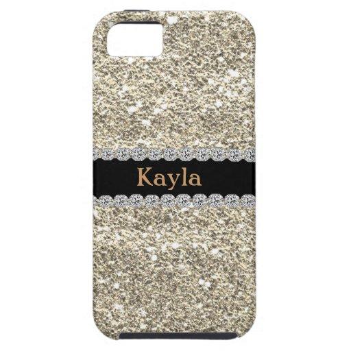 Custom GOLD GLITTER Bling I PHONE 5s iPhone 5/5S Covers