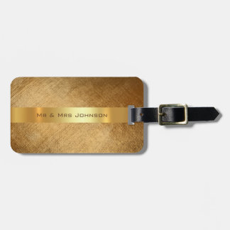 Custom Gold Minimal Brush Shiny Luggage Luggage Tag