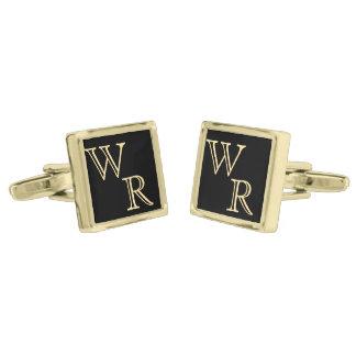Custom Gold Monogram Gold Finish Cuff Links