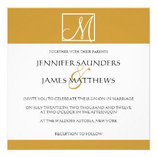 Custom Gold Monogram Wedding Invitation