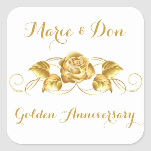 Custom Golden Anniversary Envelope Seal Stickers
