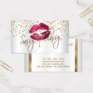 Custom - Golden Confetti & Hot Pink Lips Business Card