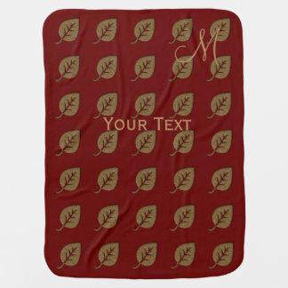 Custom Golden Leaf Pattern Red Monogram Baby Blanket