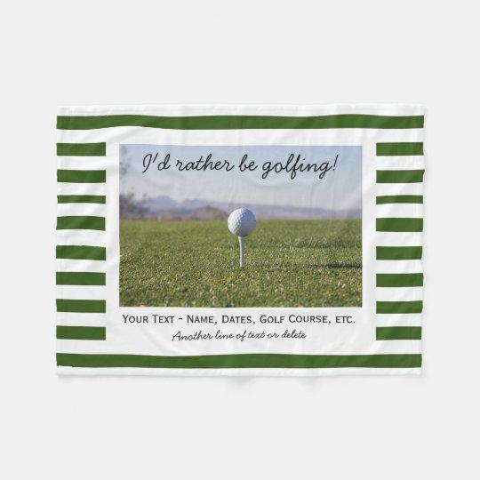 Custom Golfing Golf Photo Green & White Stripes