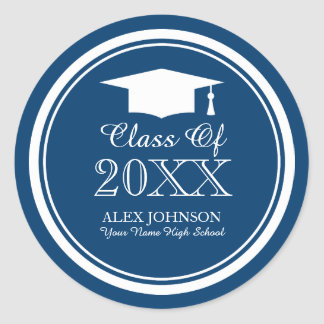 Custom graduate party stickers with graduation cap