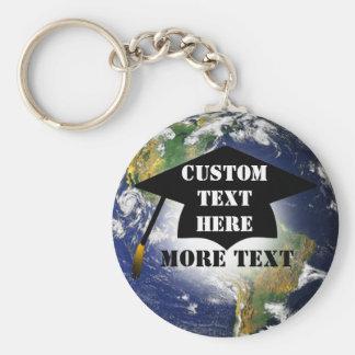 Custom Graduation Cap On The World Keychain