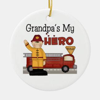 Custom Grandpa Firefighter Christmas Ornament