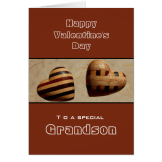 Custom/ Grandson Happy Valentine's Day Wood Hearts Card