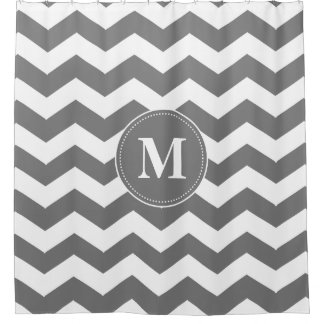 Custom Gray and White Chevrons Monogram Shower Curtain
