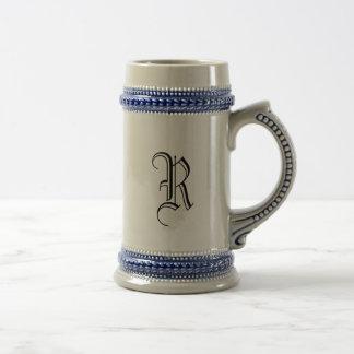 Custom Gray & Blue Beer Stein Calligraphy Initial