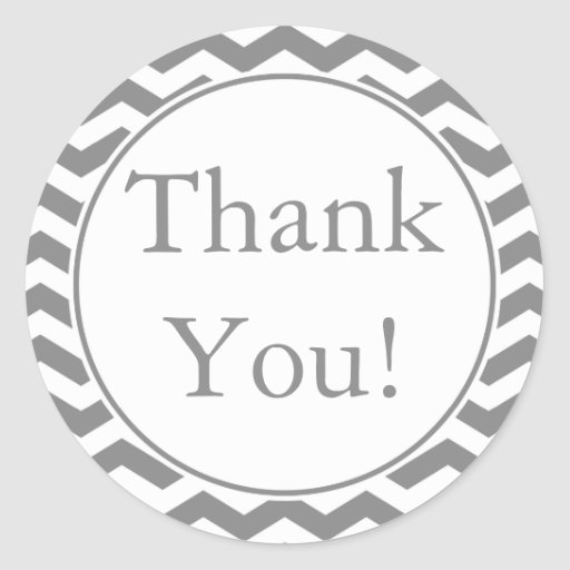 Custom Gray Thank You Sticker and Favor Label Round Sticker