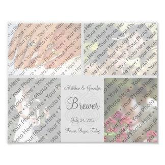Custom Gray Wedding Photo Collage Print w/ Text