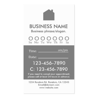 Custom gray white real estate appointment cards business cards