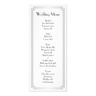 Custom Great Gatsby Art Deco Silver Wedding Menu Card