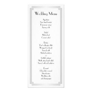 Custom Great Gatsby Art Deco Silver Wedding Menu Card