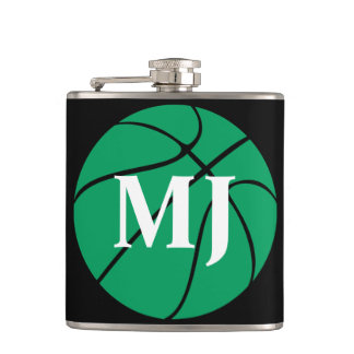 Custom Green and Black Basketball Flask