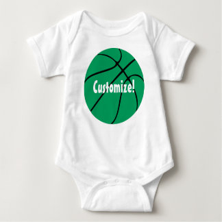Custom Green Basketball Baby Bodysuit