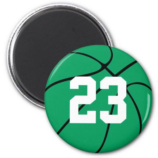 Custom Green Basketball Round Fridge Magnet