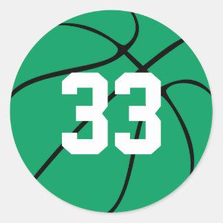 Custom Green Basketball Round Sticker