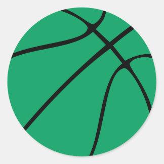 Custom Green Basketball Round Stickers