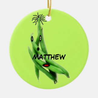 Custom Green Bean Cartoon Christmas Ornament
