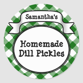 Custom Green Gingham Pickle Jar/Lid Label Sticker